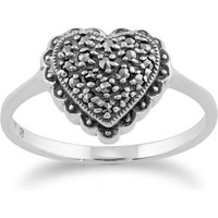 ClassicRound Marcasite Heart Ring in 925 Sterling Silver