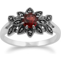 Art Nouveau Style Round Garnet & Marcasite Floral Ring in 925 Sterling Silver
