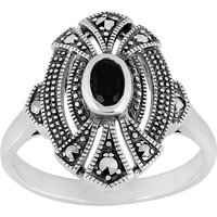 Art Deco Style Oval Black Onyx and Marcasite Cocktail Ring in 925 Sterling Silver