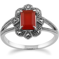 Art Deco Style Baguette Carnelian & Marcasite Ring in 925 Sterling Silver