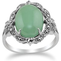 Art Nouveau Style Green Jade Cabochon and Marcasite Statement Ring in 925  Silver