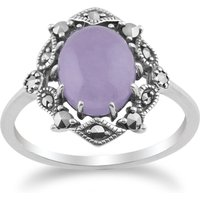Art Nouveau Style Oval Lavender Jade Cabochon and Marcasite Statement Ring in 925 Sterling Silver