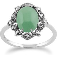 Art Nouveau Style Oval Green Jade Cabochon and Marcasite Statement Ring