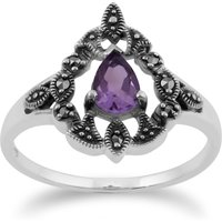 Art Nouveau Style Pear Amethsyt & Marcasite  Statement Ring in 925 Sterling Silver