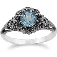 Art Nouveau Style Round Blue Topaz & Marcasite Floral Ring in 925 Sterling Silver