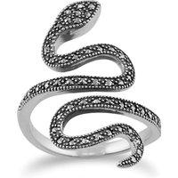 Art Nouveau Style Round Marcasite Silver Snake Boho Ring