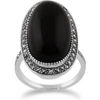 Art Deco Style Black Onyx Cabochon and Marcasite Cocktail Ring