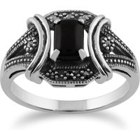 Art Deco Style Black Onyx Cabochon and Marcasite Ring in 925 Sterling Silver