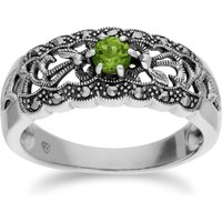 Art Nouveau Style Round Peridot & Marcasite Floral Band Ring in 925 Sterling Silver