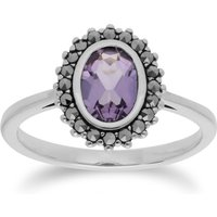 Art Deco Style Oval Amethyst & Marcasite Halo Ring in 925 Sterling Silver