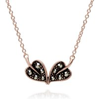 Rose Gold Plated Round Marcasite Double Leaf Necklace in 925 Sterling Silver