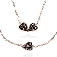 Rose Gold Plated Marcasite Leaf Bracelet & Necklace Set in 925 Sterling Silver