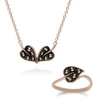 Rose Gold Plated Silver Marcasite Leaf Ring and Necklace Set