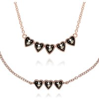 Rose Gold Plated Marcasite Heart Bracelet and Necklace Set in 925 Sterling Silver