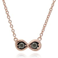 Image of Rose Gold Plated Round Marcasite Infinity Necklace in 925 Sterling Silver