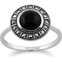 Art Deco Style Round Black Onyx Cabochon and Marcasite Halo Ring in 925 Sterling Silver