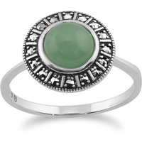 Art Deco Style Round Green Jade Cabochon and Marcasite Halo Ring in 925 Sterling Silver