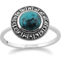 Art Deco Style Round Turquoise Cabochon and Marcasite Halo Ring in 925 Sterling Silver