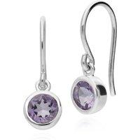 Essential Round Amethyst Bezel Set Drop Earrings in 925 Sterling Silver
