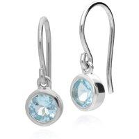 Essential Round Blue Topaz Bezel Set Drop Earrings in 925 Sterling Silver