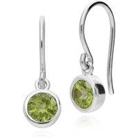 Essential Round Peridot Bezel Set Drop Earrings in 925 Sterling Silver