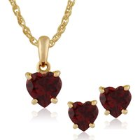 Classic Heart Garnet Single Stone Heart Stud Earrings and Pendant Set in 9ct Yellow Gold