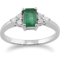 ClassicBaguette Emerald and Diamond Ring in 9ct White Gold