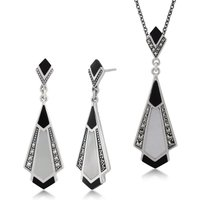 Art Deco Style Onyx, Mother of Pearl and Marcasite Fan Drop Earrings and Necklace Set in 925 Sterling Silver