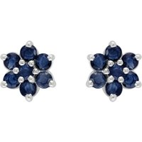 Floral Round Sapphire and Diamond Cluster Stud Earrings in 925 Sterling Silver