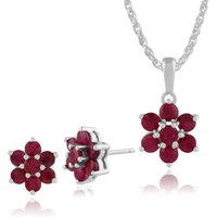 Floral Round Ruby Flower Cluster Stud Earrings & Pendant Set in 925 Sterling Silver