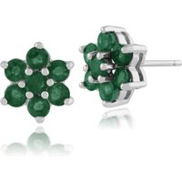 Floral Round Emerald Cluster Stud Earrings in 925 Sterling