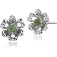 Floral Round Peridot Petite Flower Stud Earrings in 925 Sterling Silver