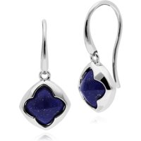 Image of Geometric Sugarloaf Lapis Lazuli Diamond Prism Drop Earrings in 925 Sterling Silver