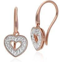 Gemondo Rose Gold Plated Sterling Silver Clear Topaz Heart Earrings