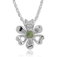 Floral Round Peridot Flower Single Stone Pendant in 925 Sterling Silver