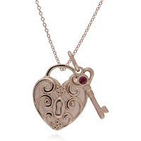 Image of Classic Swirl Heart Lock Pendant & Ruby Key Charm in Rose Gold Plated 925 Sterling Silver