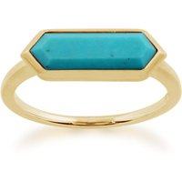 Geometric Hexagon Gold Plated Silver Turquoise Ring
