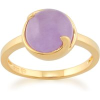 Lavender Jade Vita Pastel Ring in 9ct Yellow Gold Plated Sterling Silver
