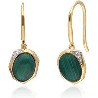 Irregular B Gem Malachite & Diamond Drop Earrings in Gold Plated Sterling Silver