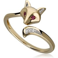 Gardenia Ruby and Sapphire Fox Ring in 9ct Yellow Gold