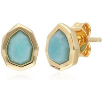 Image of Irregular B Gem Blue Peru Amazonite Stud Earrings