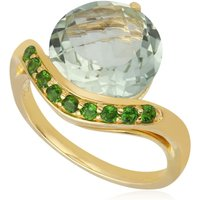 Kosmos Green Mint Quartz and Chrome Diopside Cocktail Ring in 9ct Yellow Gold