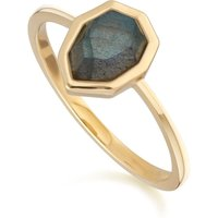 Irregular B Gem Labradorite Ring in Gold Plated Sterling Silver