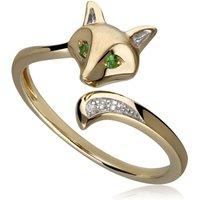 Gardenia Tsavorite and White Sapphire Fox Ring in 9ct Gold