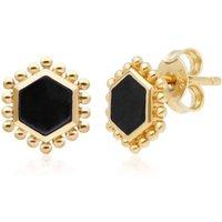 Black Onyx Flat Slice Hex Stud Earrings in Gold Plated Sterling Silver