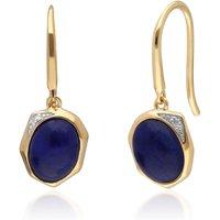 Irregular B Gem Lapis Lazuli & Diamond Drop Earrings in Gold Plated Sterling Silver