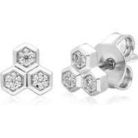 Diamond Geometric Trilogy Stud Earrings in 9ct White Gold