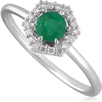 9ct White Gold 0.38ct Emerald and Diamond Halo Engagement Ring