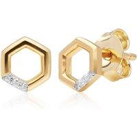 Diamond Hexagon Stud Earrings in 9ct Yellow Gold