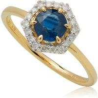 9ct Gold 0.92ct Sapphire and Diamond Halo Engagement Ring